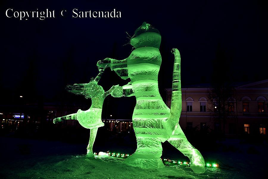 Beautiful ice sculpture in Mikkeli, Finland
