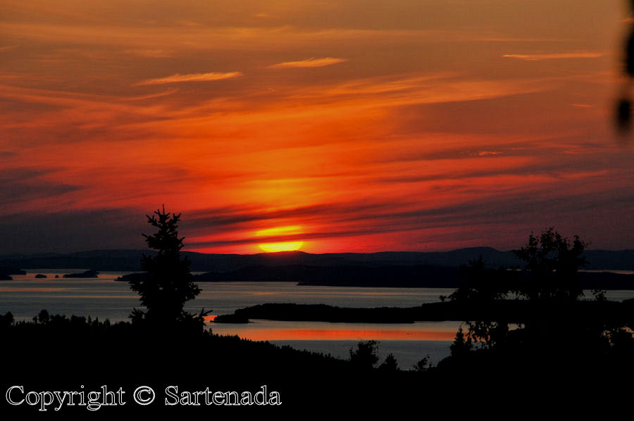 Midsummer sunset at Koli National Park in Finland