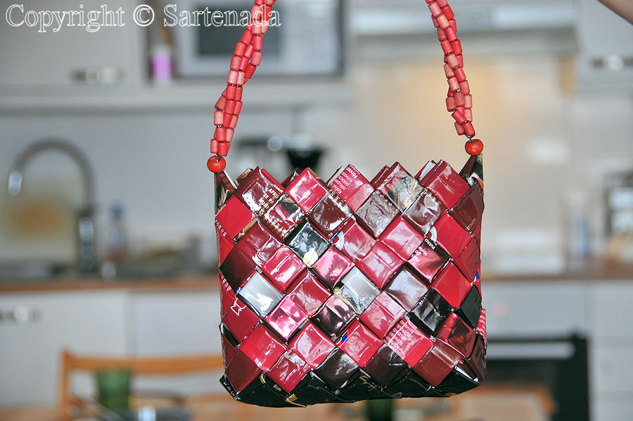 Opera / theatre bag made from empty coffee bags by my wife – not for sale in Paris, London, Rome, Milan, New York, Los Angeles, San Francisco, Melbourne