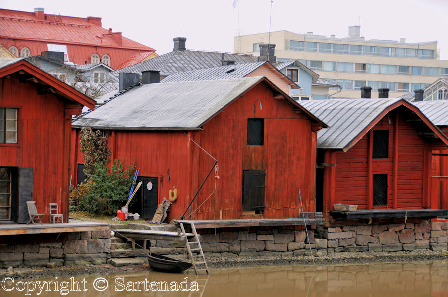 Old red storage buildings in old Porvoo