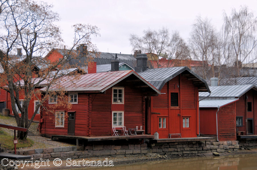 Old red warehouses in Porvoo