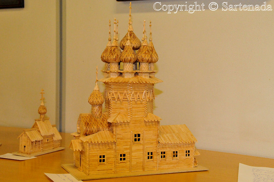 Karelian style scale model church made of matches by a war veteran
