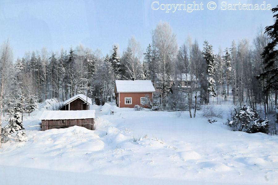 Snowy winter landscape / Paisaje invernal con nieve / Paysages d'hiver et de neige