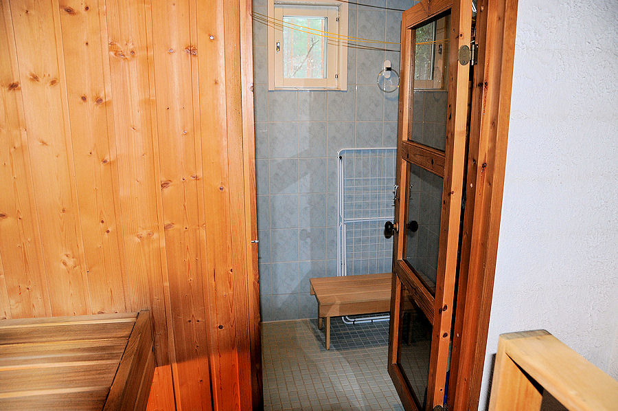 View from the sauna to shower room