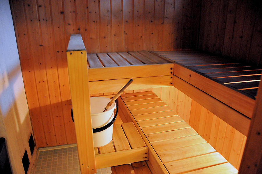Insideof sauna seen from shower room