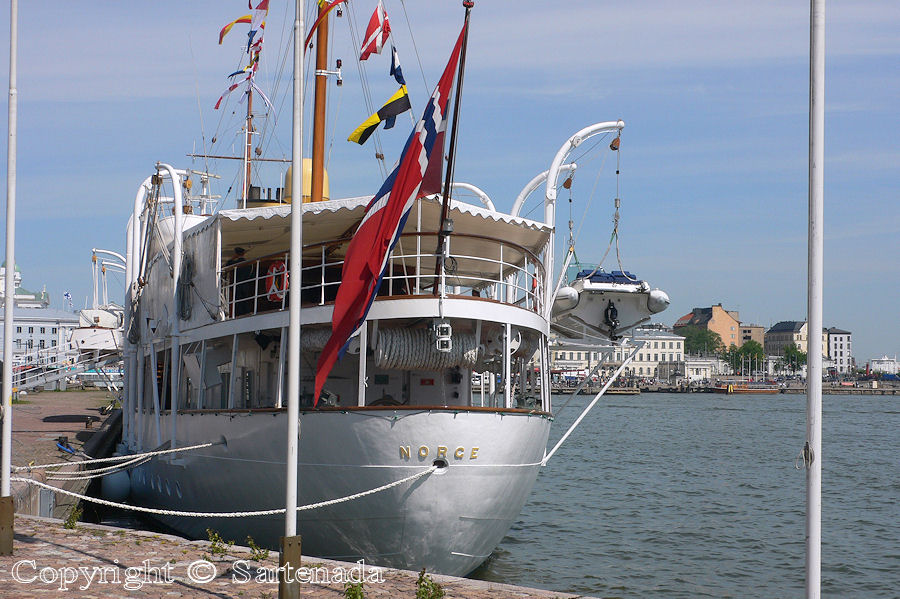 The royal ship and at background Helsinki with the Market Square