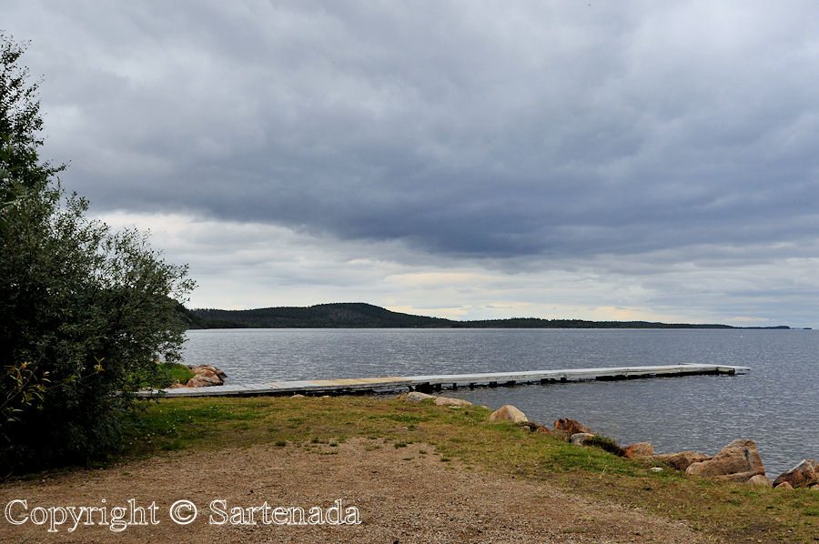 Uruniemi Camping in Inari. At background Lake Inari