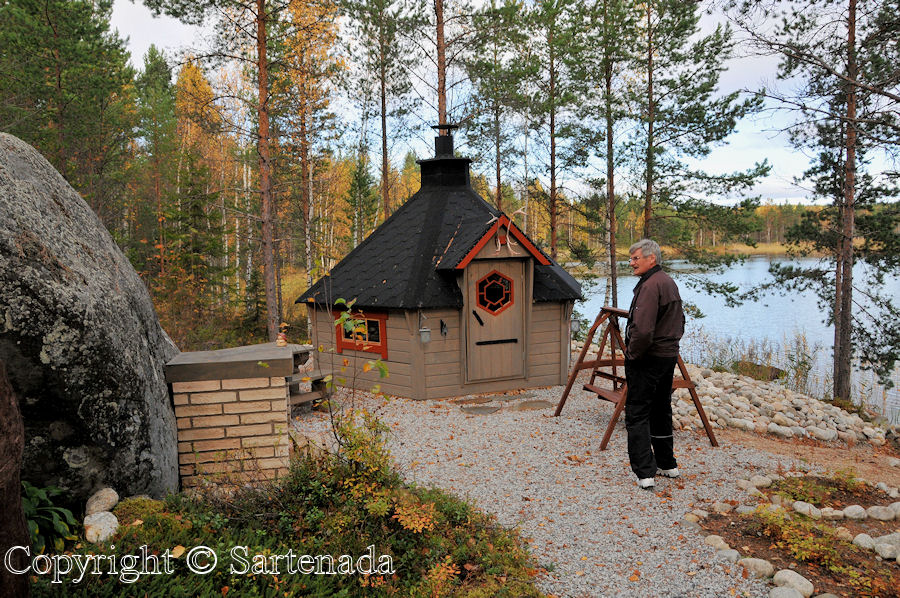 My friend – master of house. It is not cold, even though he has his hands in pockets. Finnish habit