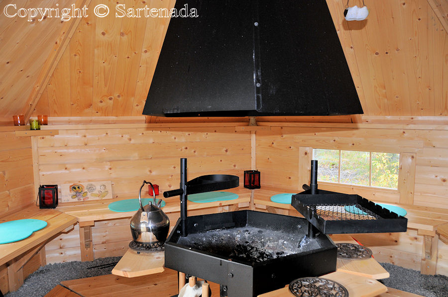 Interior view of barbeque hut