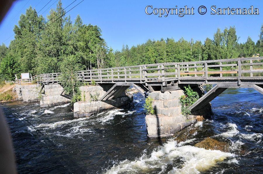 River and wooden bridge