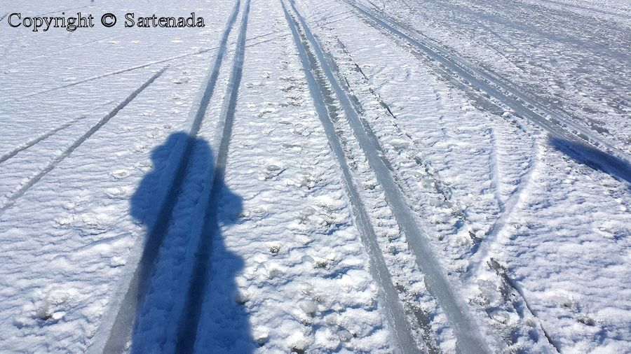 Tracks and cracks on ice  /  Pistas y grietas sobre hielo   / Pistes et fissures sur glace  / Pistas e fendas no gelo