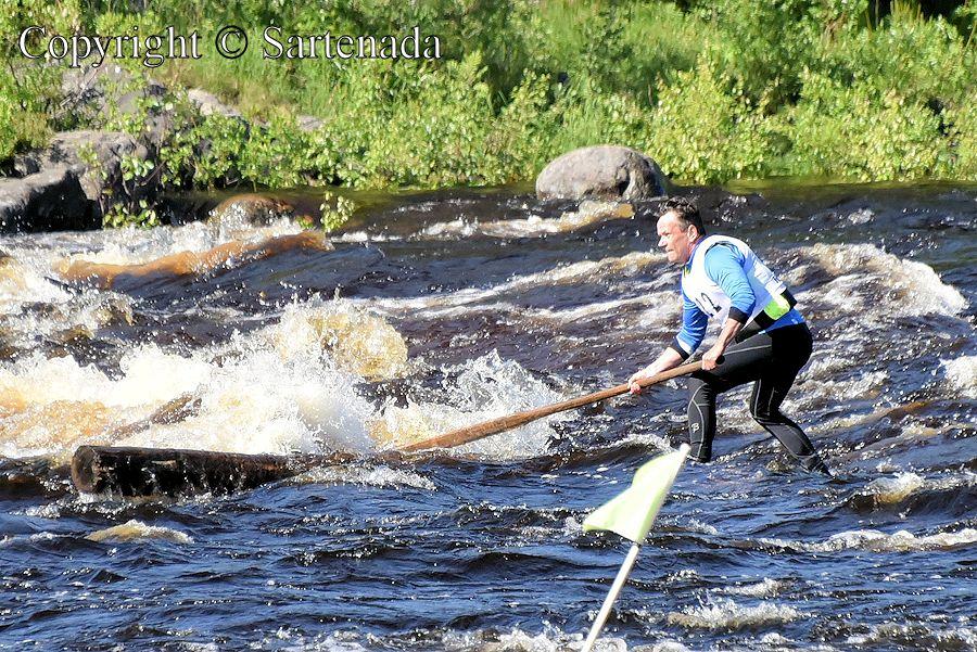 Rafting competition standing on log in river / Competición de descenso de ríos sobre un tronco / Concourse de radelage debout sur une bûche sur rivière / Competição de jangada em pe sobre o tora no rio