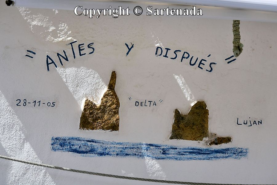 35. Sign telling about El Dedo de Dios (God's finger). Before and after