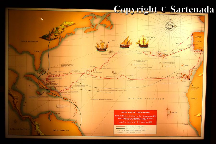 14. Columbus's museum - map showing first trip