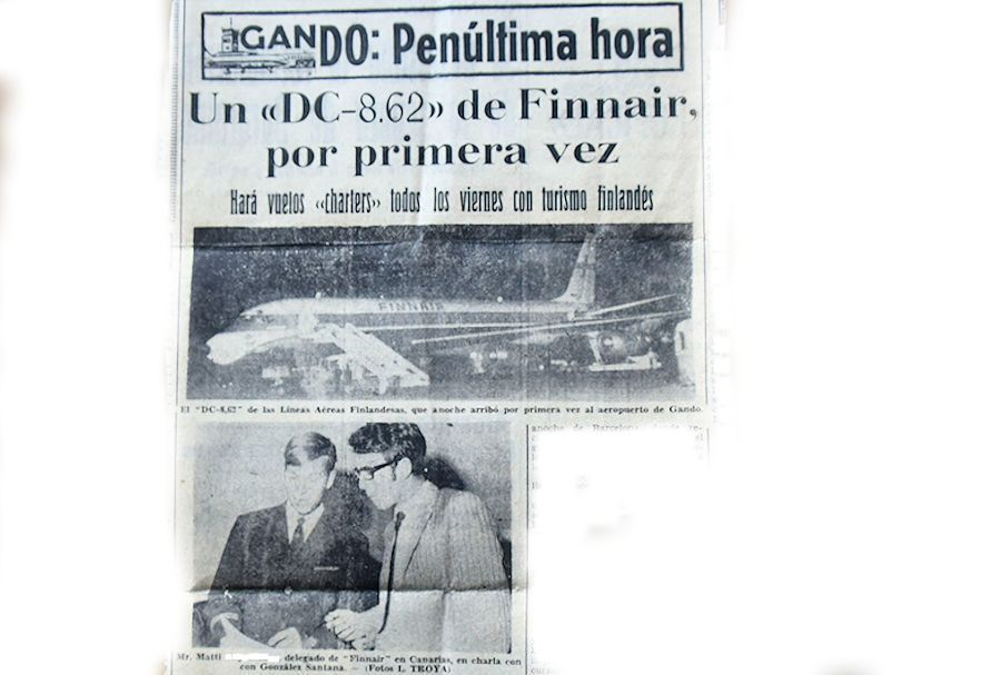 58. Old newspaper cutting from the year 1969. At background our new DC-8-62. The local newspaper interviewed me because we got this airplane, which made its virgin flight to Las Palmas and few weeks later on May 15, 1969 starting regular flights to New York.