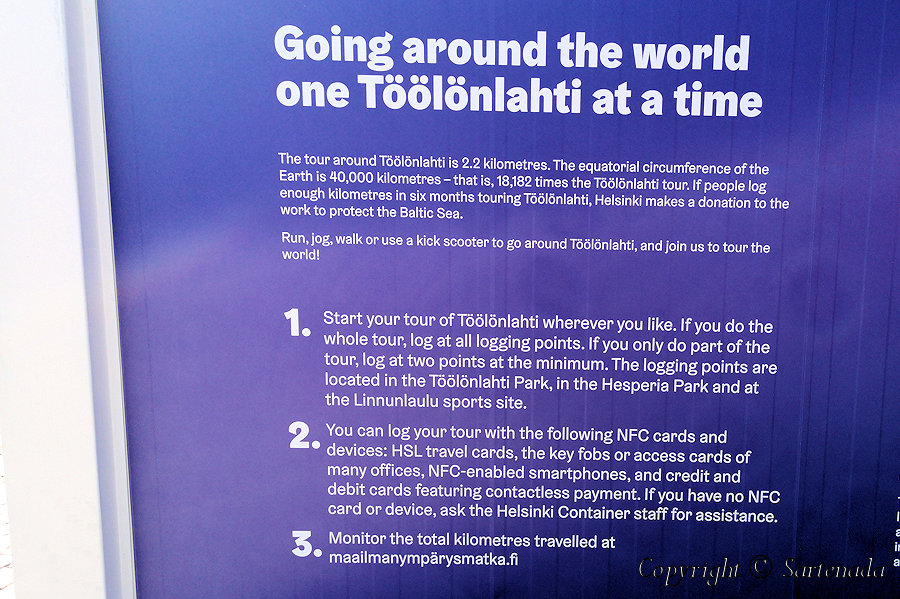 28.	Information board telling about walking around Töölönlahti. Note that we did not take around it, but halfway, because our walking trip started in Hakaniemi Metro station and first photos Tokoinranta