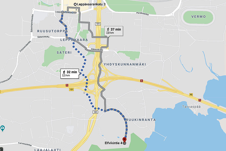 Map – how to reach Villa Elfvik Nature trails Espoo